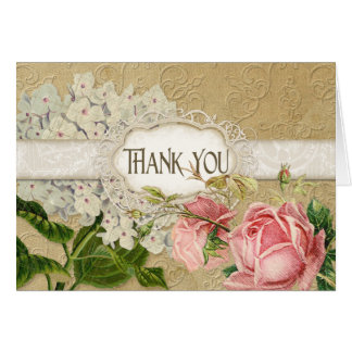 Modern Vintage Lace Tea Stained Hydrangea n Roses Greeting Cards