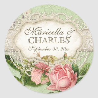 Modern Vintage Lace Tea Stained Hydrangea n Roses Classic Round Sticker