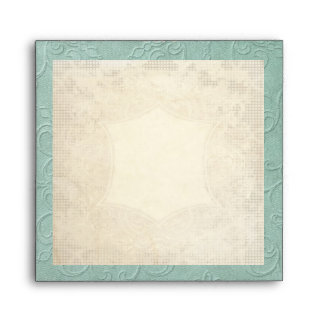 Modern Vintage Lace Tea Stained Hydrangea n Roses Envelope