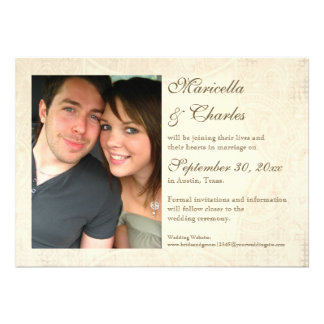 Modern Vintage Lace Tea Stained Hydrangea n Roses Personalized Invitation