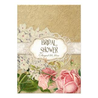 Modern Vintage Lace Tea Stained Hydrangea n Roses Custom Invites