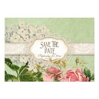 Modern Vintage Lace Tea Stained Hydrangea n Roses Custom Invitations