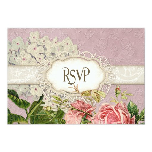 Modern Vintage Lace Tea Stained Hydrangea n Roses 3.5x5 Paper Invitation Card