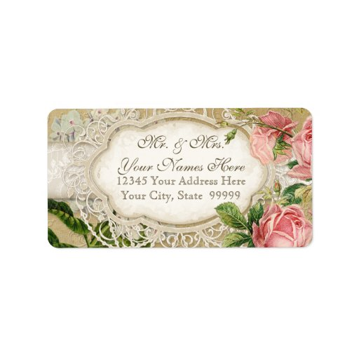 Modern Vintage Lace Tea Stained Hydrangea n Roses Custom Address Labels