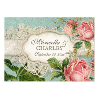 Modern Vintage Lace Tea Stained Hydrangea n Roses Large Business Card