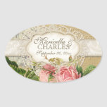 Modern Vintage Lace Tea Stained Hydrangea n Roses Oval Sticker