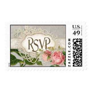Modern Vintage Lace Tea Stained Hydrangea n Roses Stamps