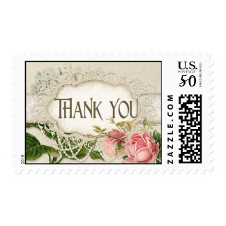 Modern Vintage Lace Tea Stained Hydrangea n Roses Postage