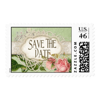 Modern Vintage Lace Tea Stained Hydrangea n Roses Postage Stamp