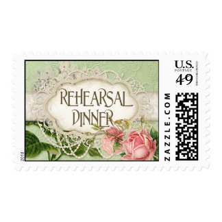 Modern Vintage Lace Tea Stained Hydrangea n Roses Postage Stamps