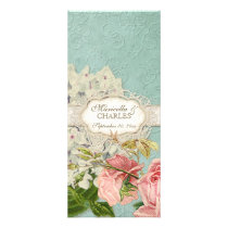Modern Vintage Lace Tea Stained Hydrangea n Roses Rack Card