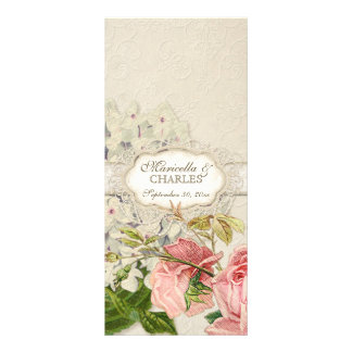 Modern Vintage Lace Tea Stained Hydrangea n Roses Custom Rack Card