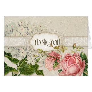 Modern Vintage Lace Tea Stained Hydrangea n Roses Stationery Note Card
