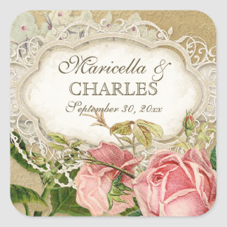 Modern Vintage Lace Tea Stained Hydrangea n Roses Square Stickers