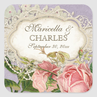 Modern Vintage Lace Tea Stained Hydrangea n Roses Sticker