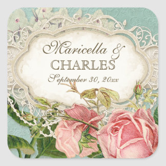 Modern Vintage Lace Tea Stained Hydrangea n Roses Square Sticker