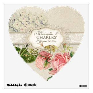 Modern Vintage Lace Tea Stained Hydrangea n Roses Wall Sticker