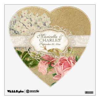 Modern Vintage Lace Tea Stained Hydrangea n Roses Room Graphic