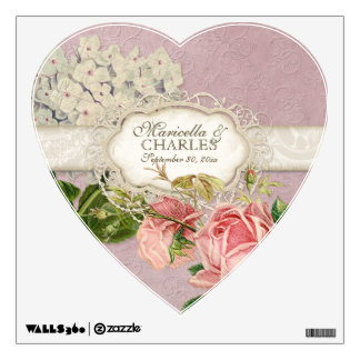 Modern Vintage Lace Tea Stained Hydrangea n Roses Wall Decal