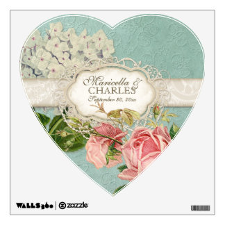 Modern Vintage Lace Tea Stained Hydrangea n Roses Room Decals