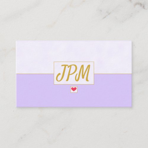 Modern Vintage Lavender Purple Monogrammed Business Card