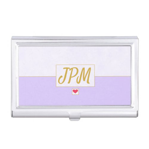 Modern Vintage Lavender Purple Monogrammed Business Card Case