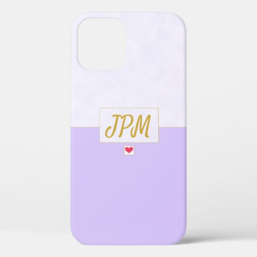 Modern Vintage Lavender Purple Monogrammed iPhone 12 Case