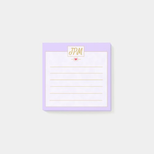 Modern Vintage Lavender Purple Monogrammed Post-it Notes