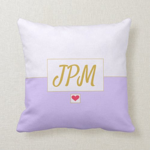 Modern Vintage Lavender Purple Monogrammed Throw Pillow