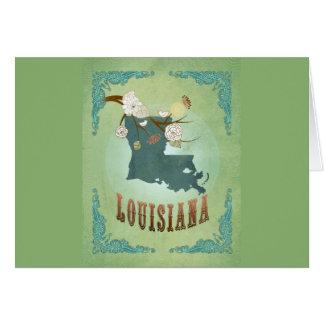 Modern Vintage Louisiana State Map – Sage Green Greeting Card