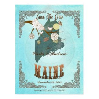Modern Vintage Maine State Map – Aqua Blue Postcard