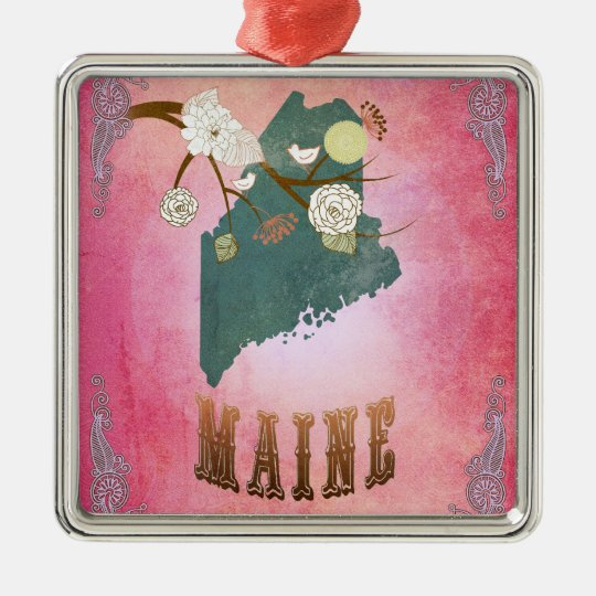 Modern Vintage Maine State Map- Candy Pink Metal Ornament