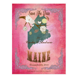 Modern Vintage Maine State Map- Candy Pink Postcard