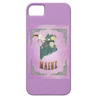 Modern Vintage Maine State Map- Grape Purple iPhone 5 Cases