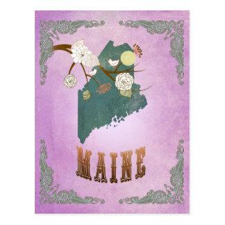 Modern Vintage Maine State Map- Grape Purple Postcard