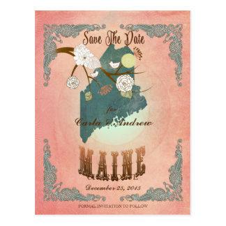 Modern Vintage Maine State Map- Pastel Peach Postcard