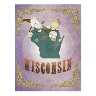 Modern Vintage Maine State Map- Sweet Lavender Postcard