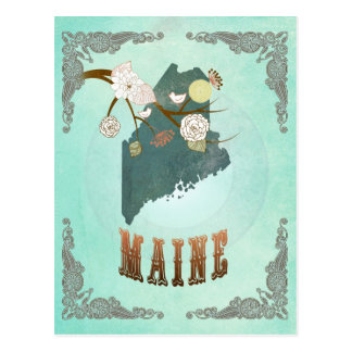 Modern Vintage Maine State Map – Turquoise Blue Postcard