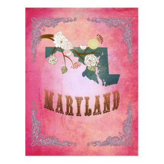 Modern Vintage Maryland State Map- Candy Pink Post Card