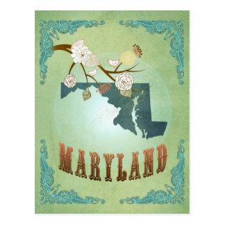 Modern Vintage Maryland State Map – Sage Green Postcards