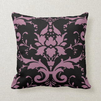 Modern Vintage Mauve Damask on Black Throw Pillow