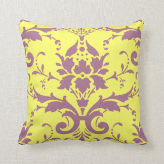 Modern Vintage Mauve on Yellow Throw Pillow