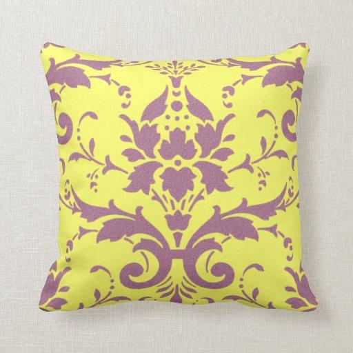 Modern Vintage Pillows : Modern Vintage Mauve on Yellow Throw Pillow Zazzle