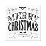 modern vintage Merry Christmas Stretched Canvas Print