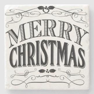 modern vintage Merry Christmas Stone Coaster