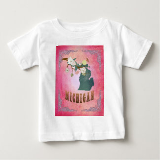 Modern Vintage Michigan State Map- Candy Pink Baby T-Shirt