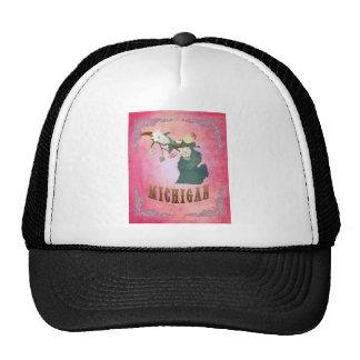 Modern Vintage Michigan State Map- Candy Pink Mesh Hats