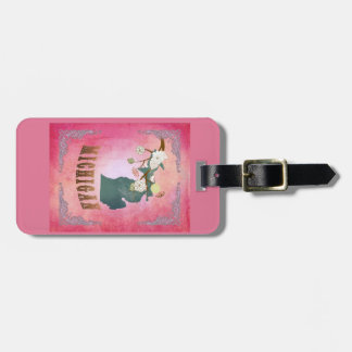 Modern Vintage Michigan State Map- Candy Pink Tag For Luggage
