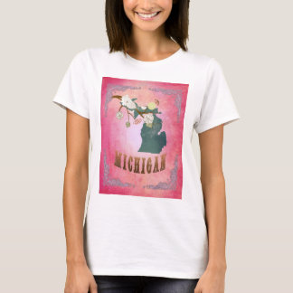 Modern Vintage Michigan State Map- Candy Pink T-Shirt