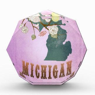 Modern Vintage Michigan State Map-Grape Purple Acrylic Award